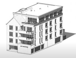 Massing View of 3015 N Southport Avenue. Drawing by OKW Architects