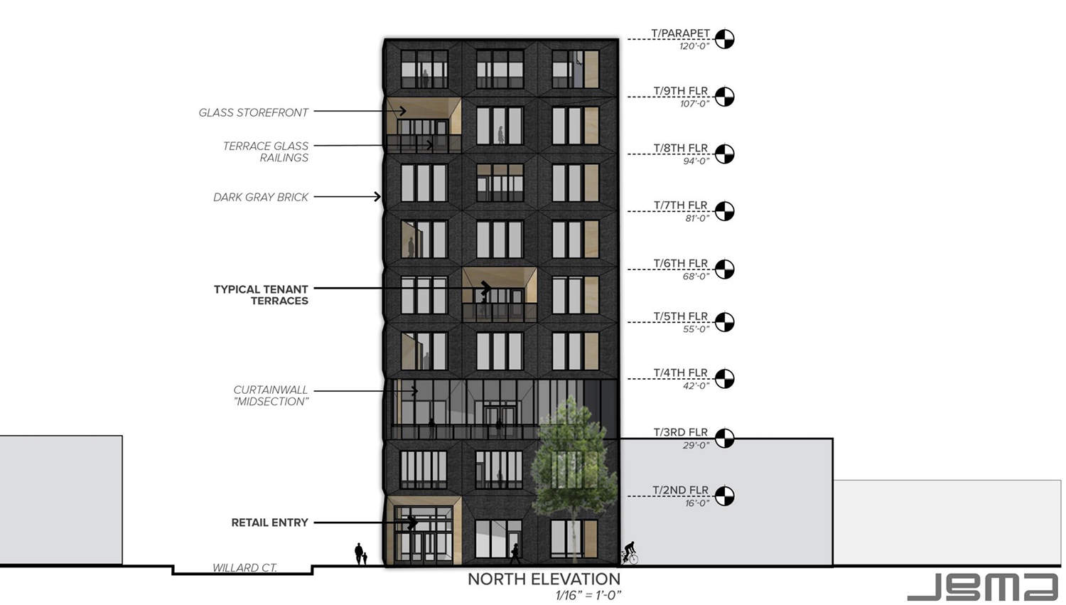 North Elevation for 1229 W Randolph Street. Drawing by JGMA