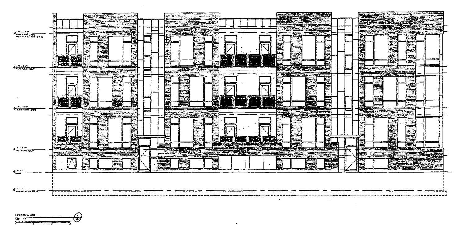 North Elevation for 4179 W Belmont Avenue. Drawing by Johathan Splitt Architects