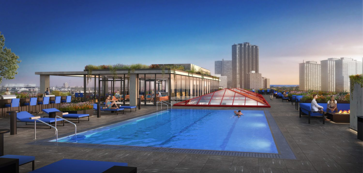 Optima Lakeview rooftop pool and deck