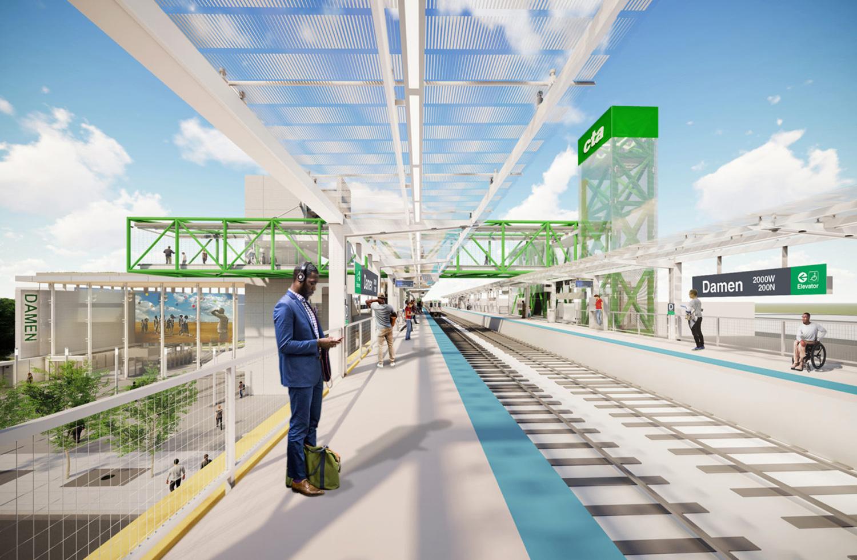 Platform of Damen CTA Green Line Station. Rendering by Perkins + Will