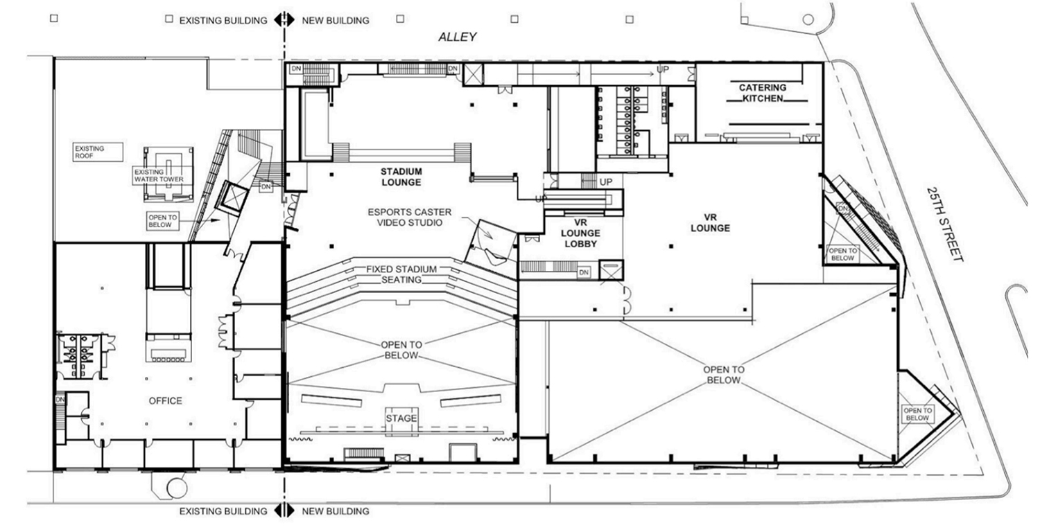 Second Floor Plan for Surge eSports Stadium at 2500 S Wabash Avenue. Drawing by KOO Architecture