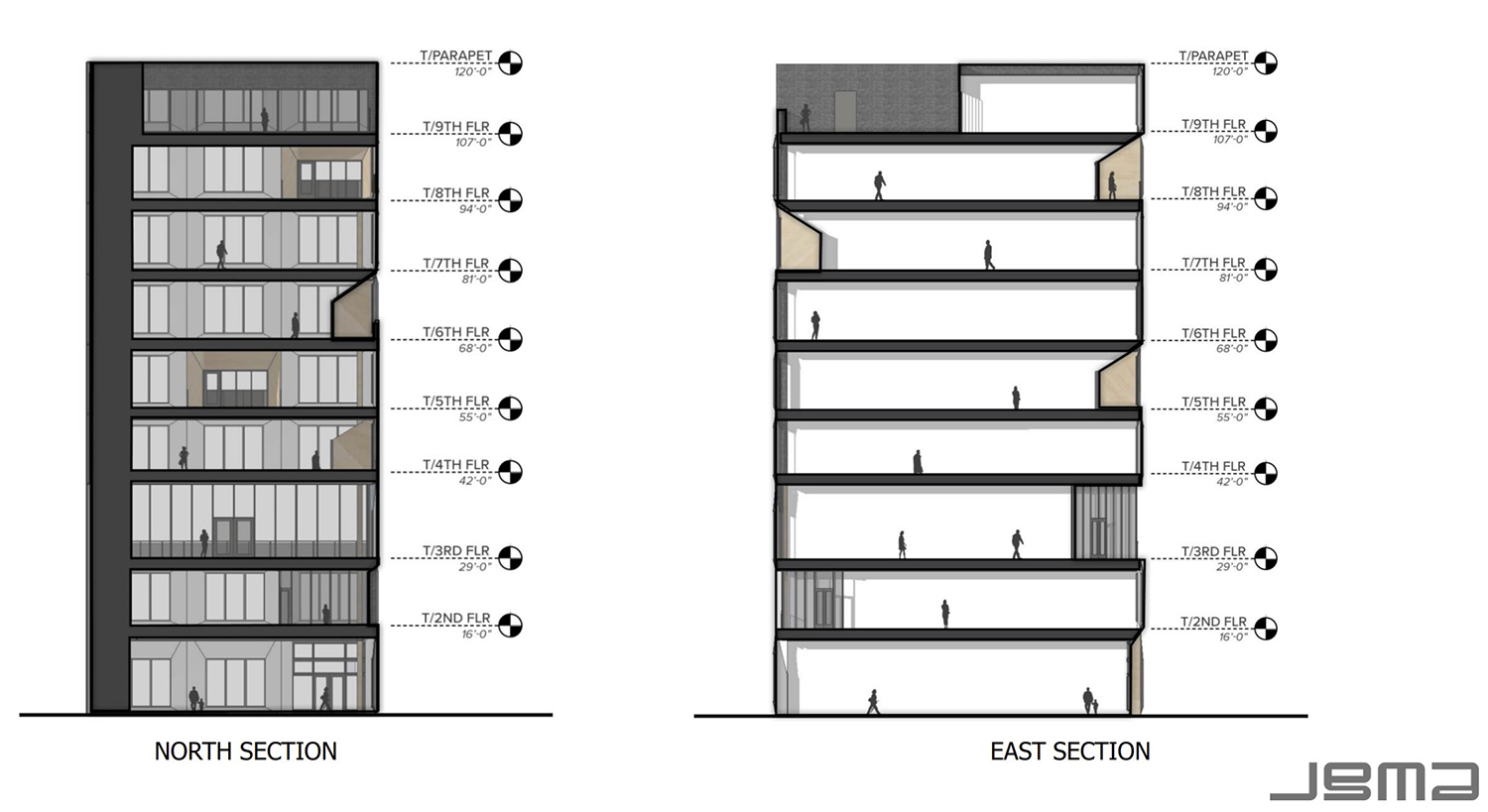Sections of 1229 W Randolph Street. Drawings by JGMA