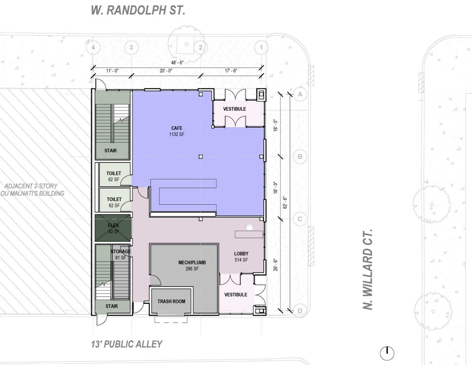 Site Plan for 1229 W Randolph Street. Drawing by JGMA