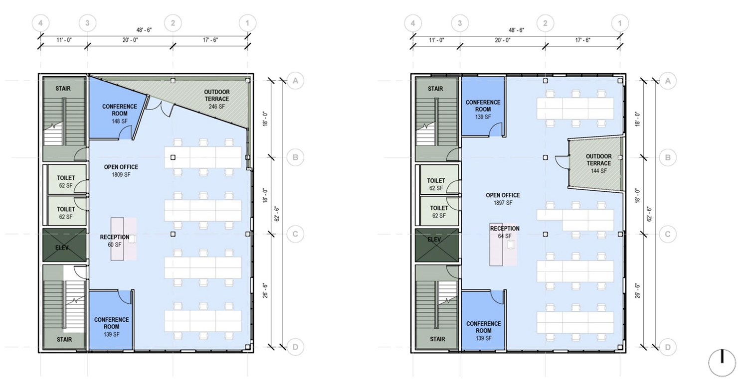 Typical Floor Plans for 1229 W Randolph Street. Drawings by JGMA