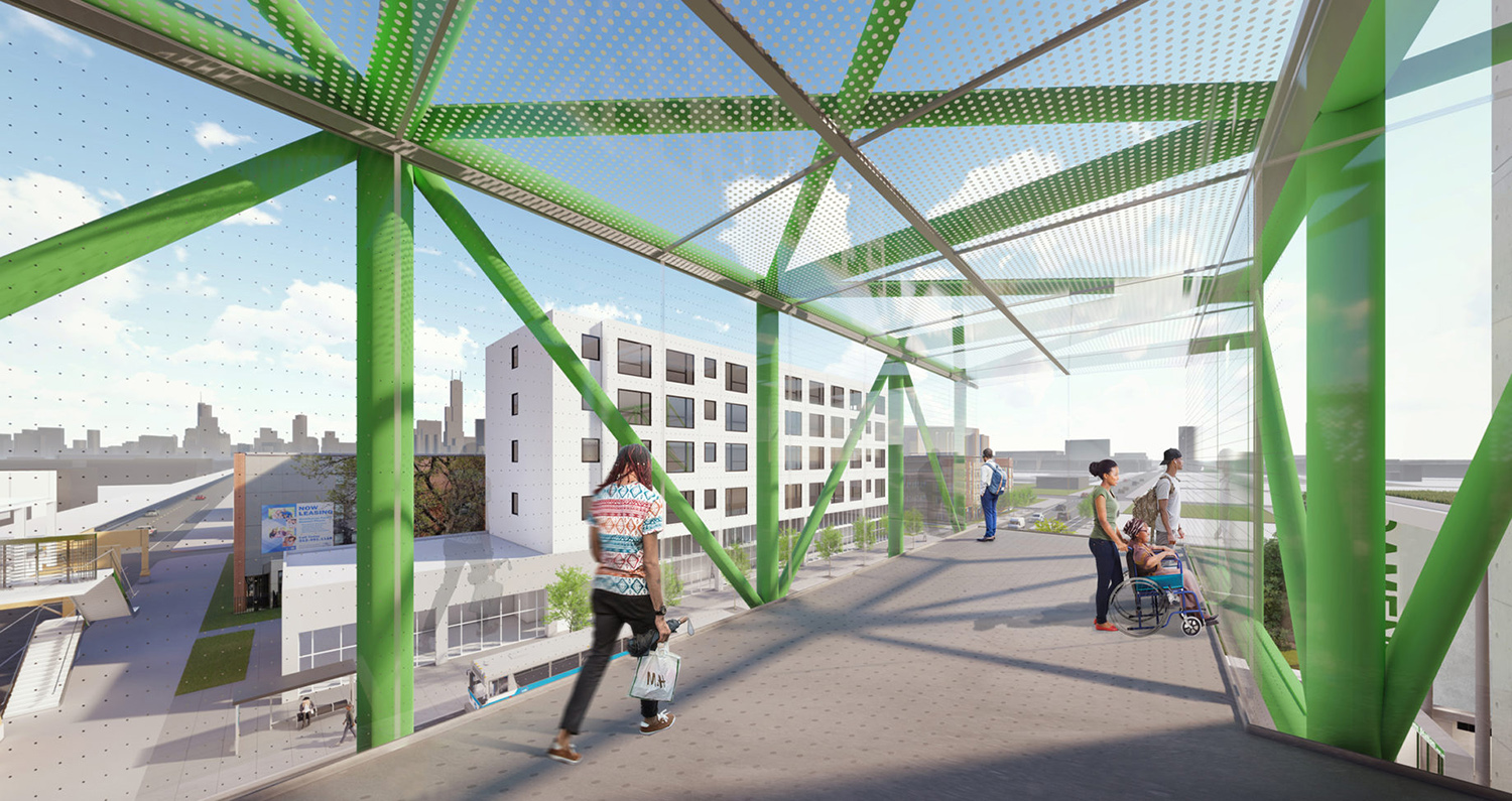 View of Damen CTA Green Line Station. Rendering by Perkins + Will