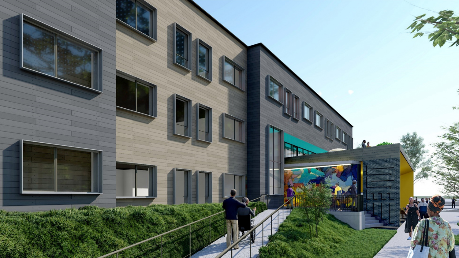View of Garfield Green Development. Rendering by Perkins + Will and Nia Architects