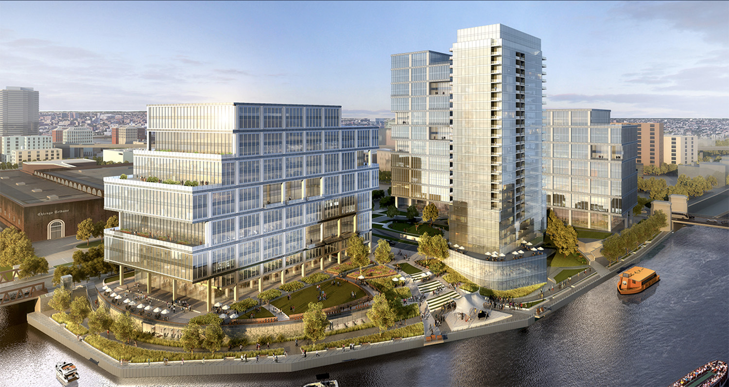 700 at the River District. Rendering by Goettsch Partners
