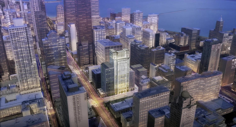 Aerial View of 150 E Ontario Street. Rendering by Lucien LaGrange Studio