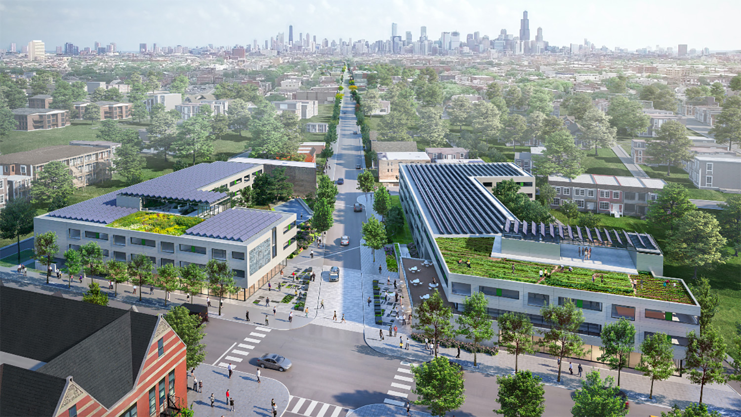 Aerial View of Garfield Green Development. Rendering by Perkins + Will and Nia Architects