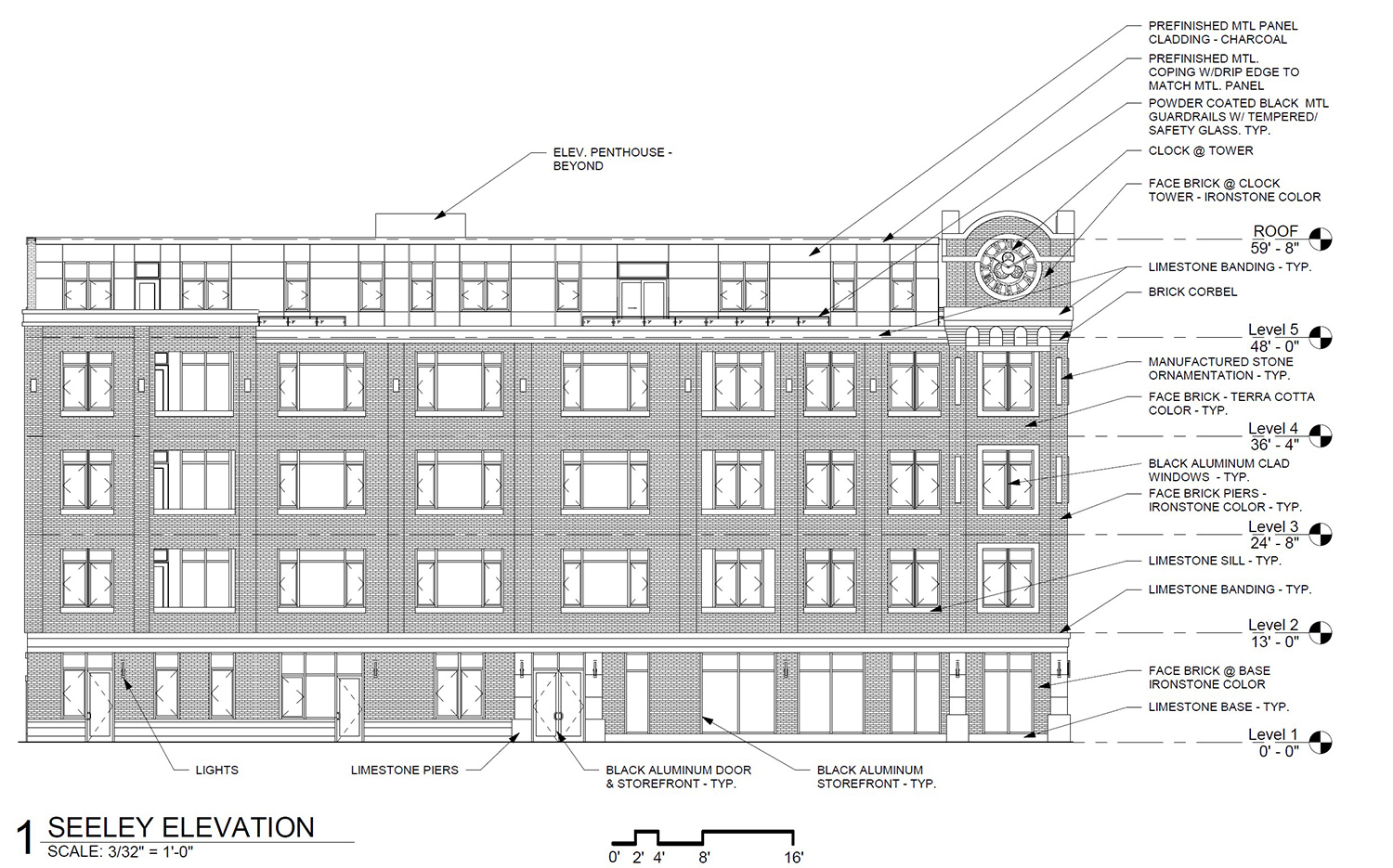 East Elevation for 2035 W Irving Park Road. Drawing by SPACE Architects + Planners
