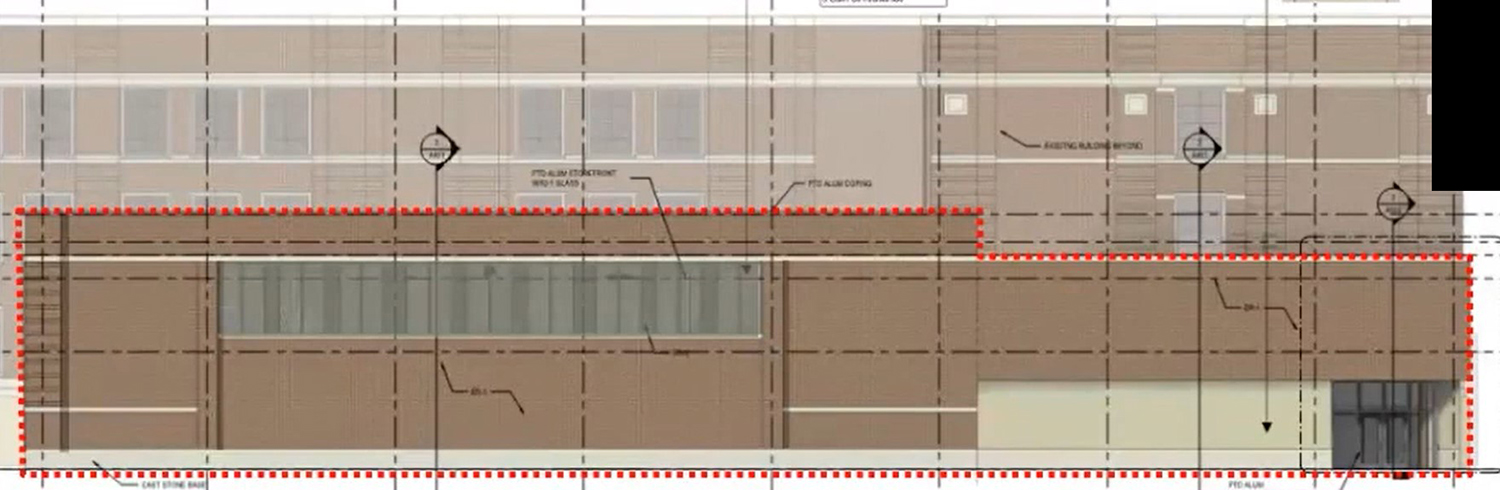 East Elevation for Addition at 244 E Pershing Road. Drawing by Moody Nolan