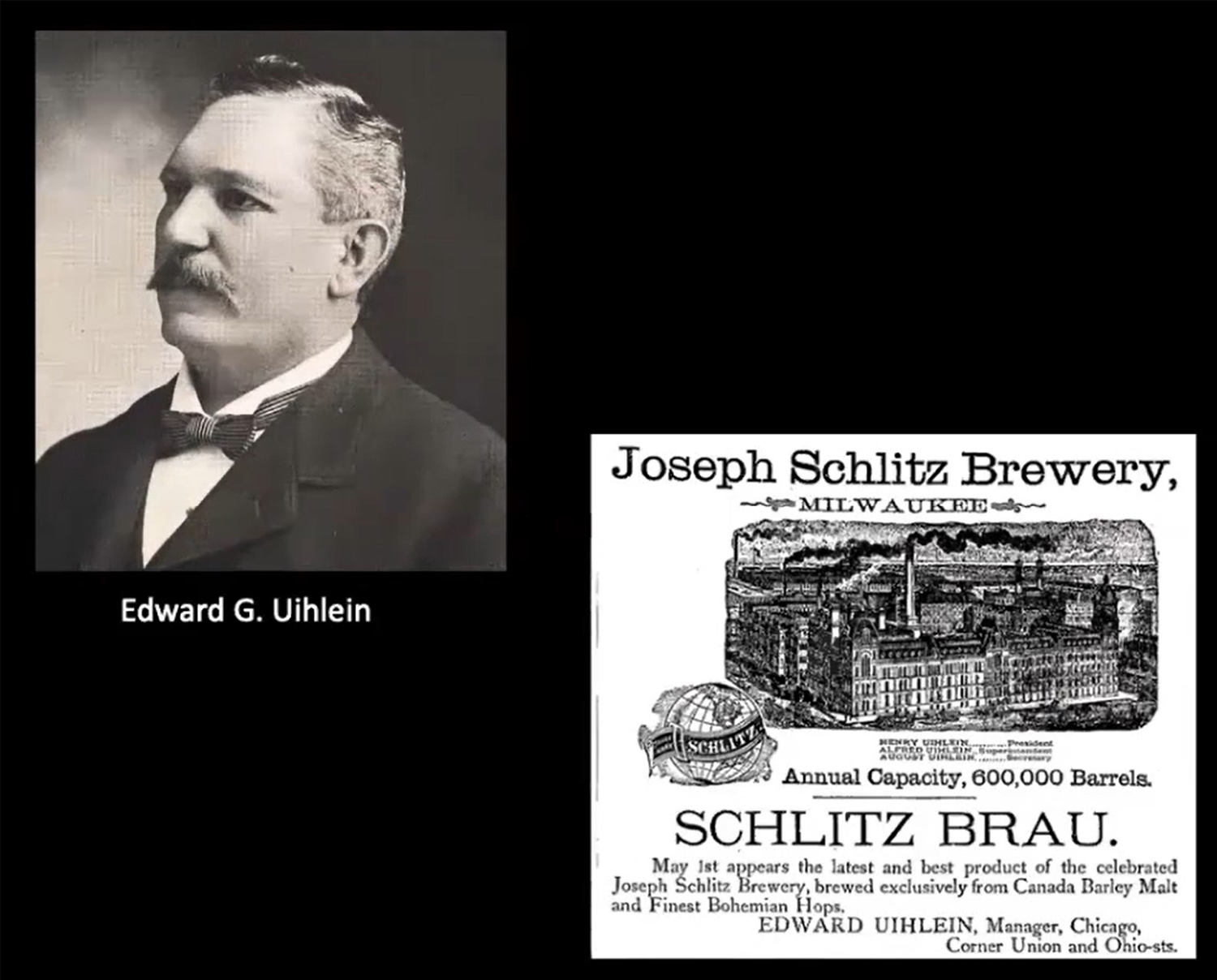 Edward G Uihlein and Schlitz Advertising. Images by CCL