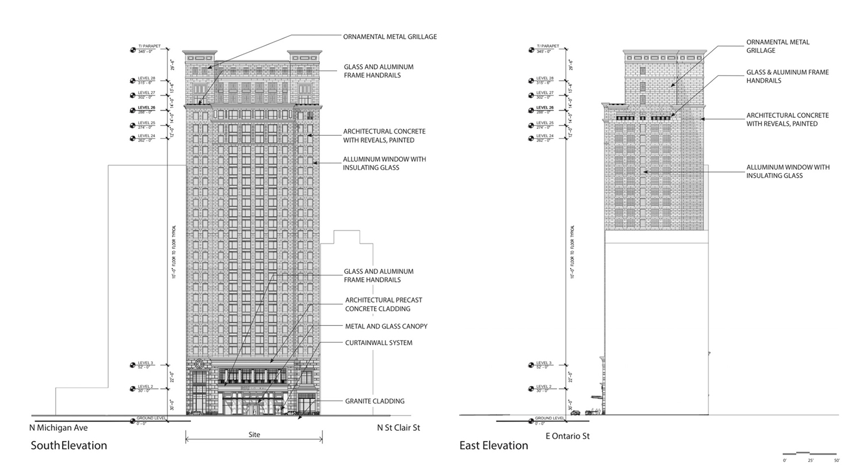 Elevations of 150 E Ontario Street. Drawings by Lucien LaGrange Studio