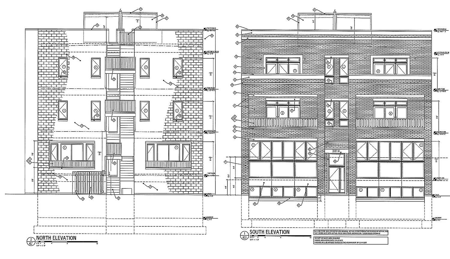 Elevations of 3010 W Montrose Avenue. Drawing by 360 Design Studio