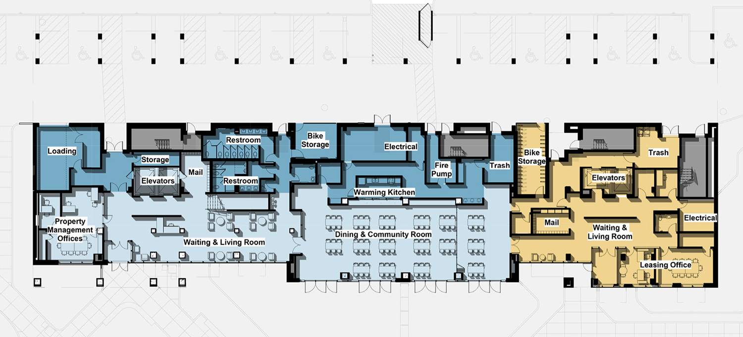 Ground Floor Plan of 2700 N Sheffield Avenue at Edith Spurlock Apartments. Drawing by RATIO