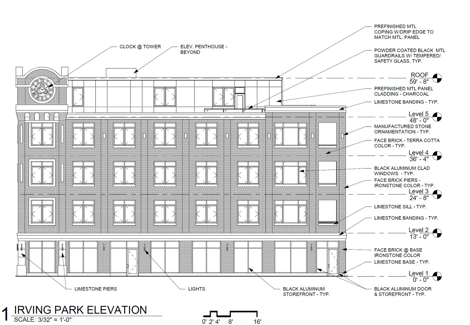 North Elevation for 2035 W Irving Park Road. Drawing by SPACE Architects + Planners