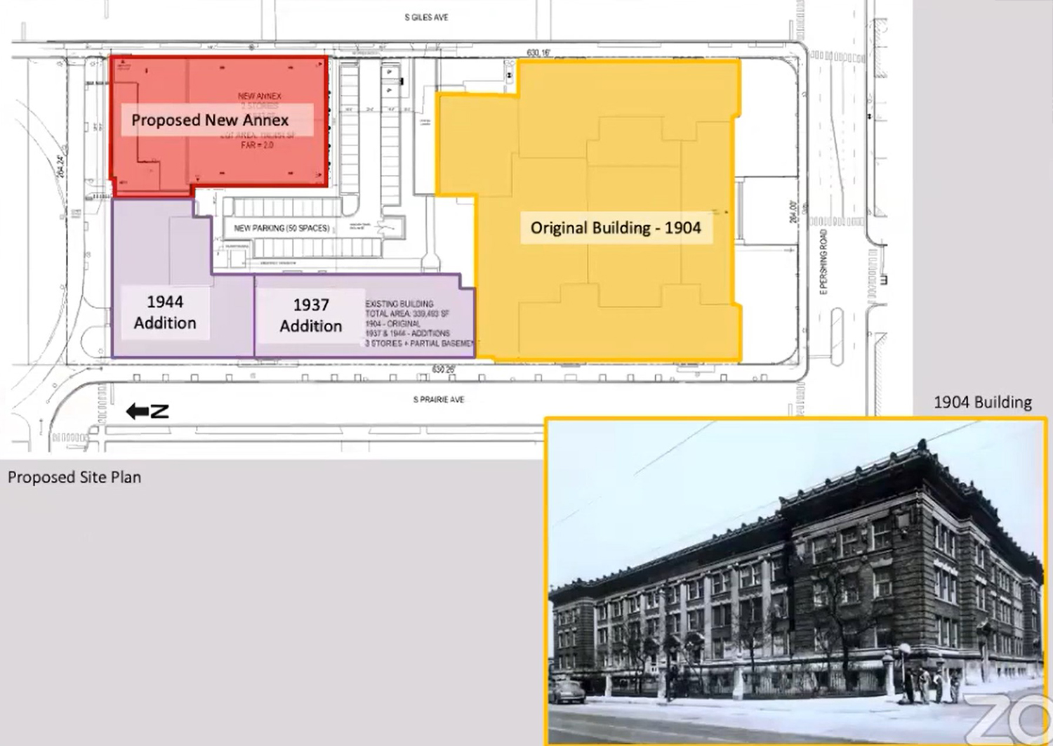 Proposed Site Plan and Historic Photo. Drawing by Moody Nolan