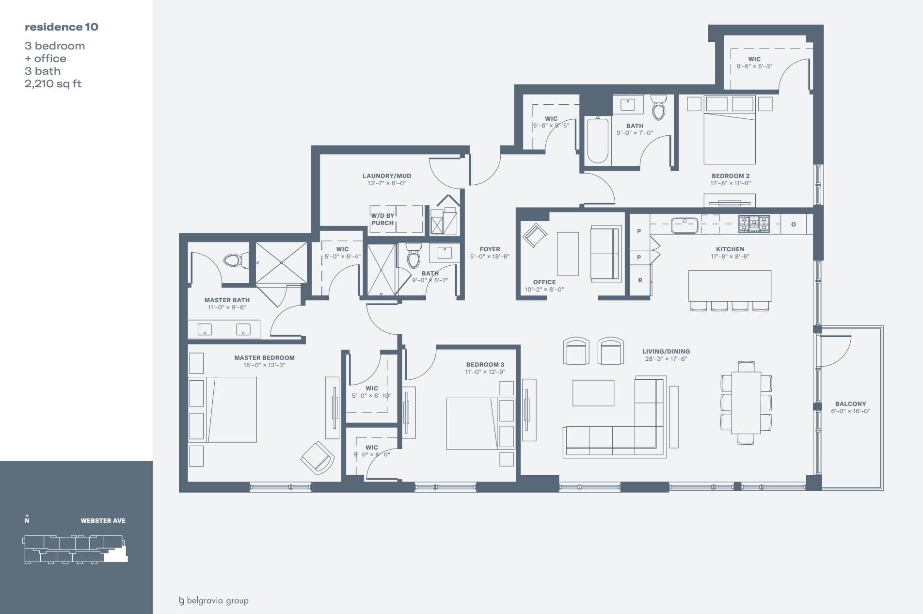 Triangle Square Condos sample three-bedroom + office unit