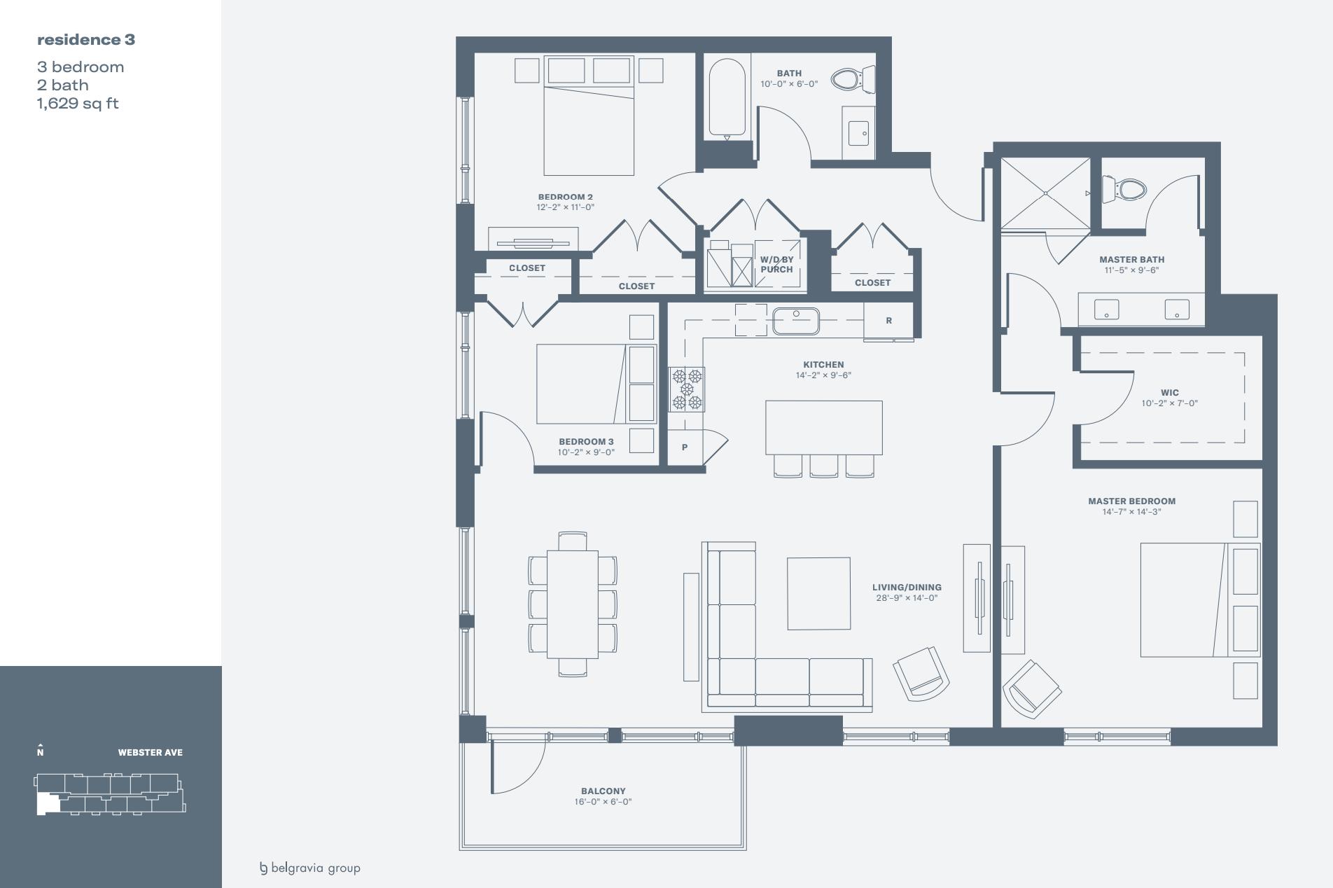 Triangle Square Condos sample three-bedroom unit