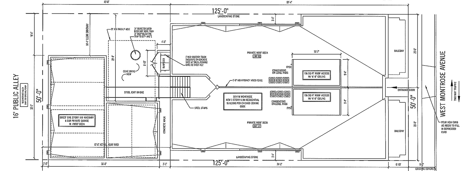 Site Plan for 3010 W Montrose Avenue. Drawing by 360 Design Studio