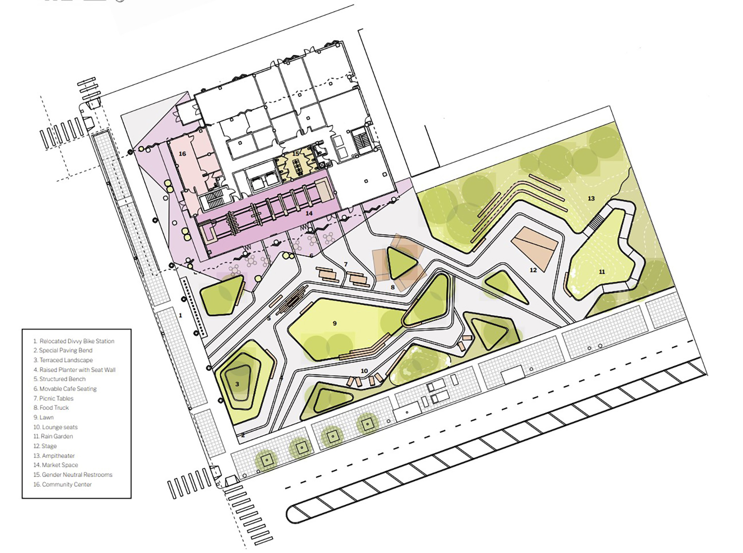 Site Plan for Common Good Collaborative. Drawing by Valerio Dewalt Train