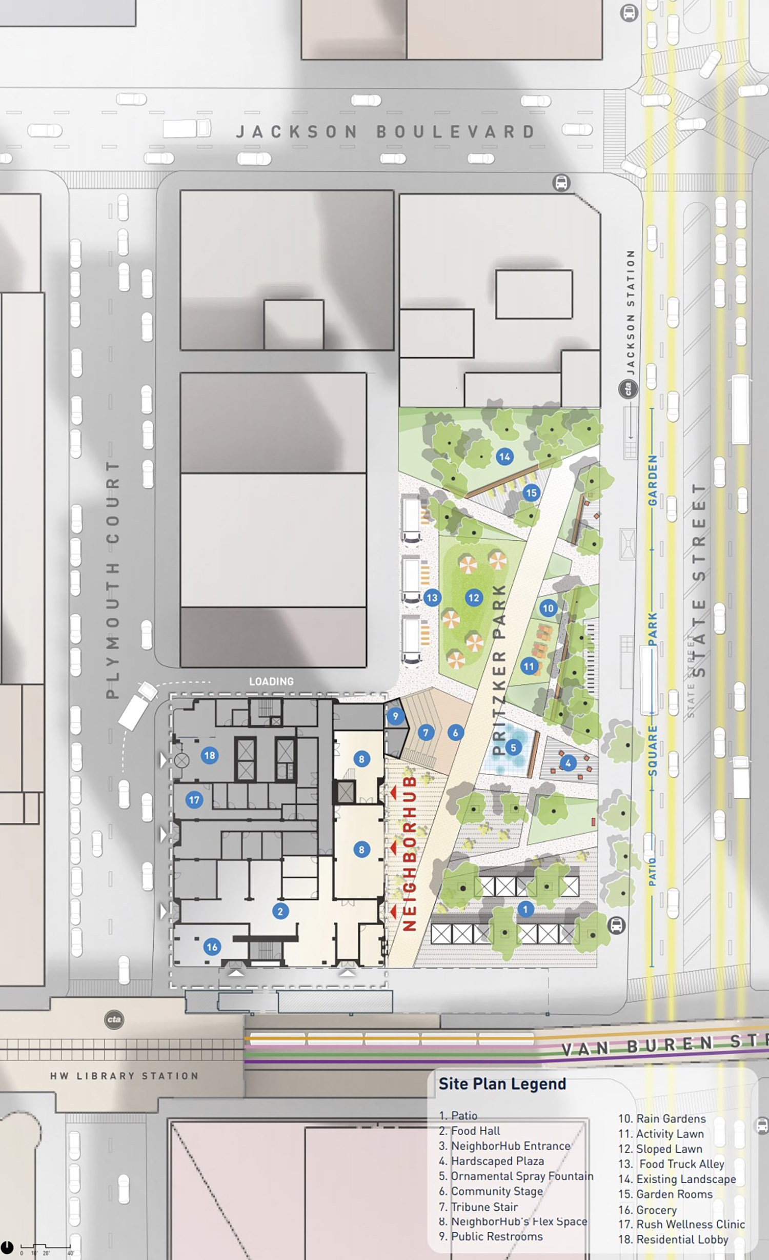 Site Plan of Assemble Chicago. Drawing by StudioGang