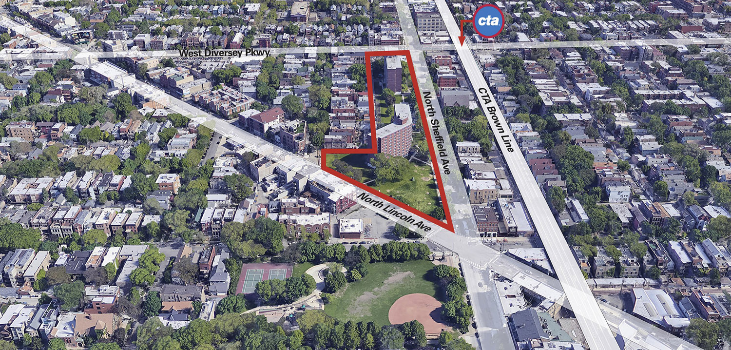 Site of Edith Spurlock Apartments at 2700 N Sheffield Avenue. Diagram by RATIO