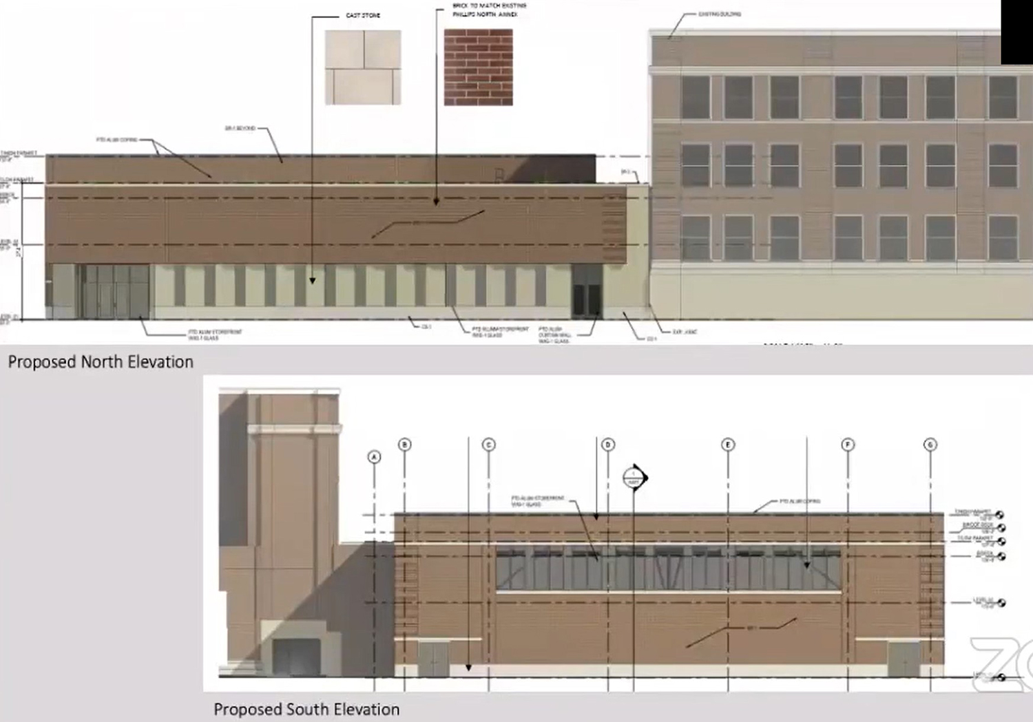South and North Elevations for Addition at 244 E Pershing Road. Drawings by Moody Nolan