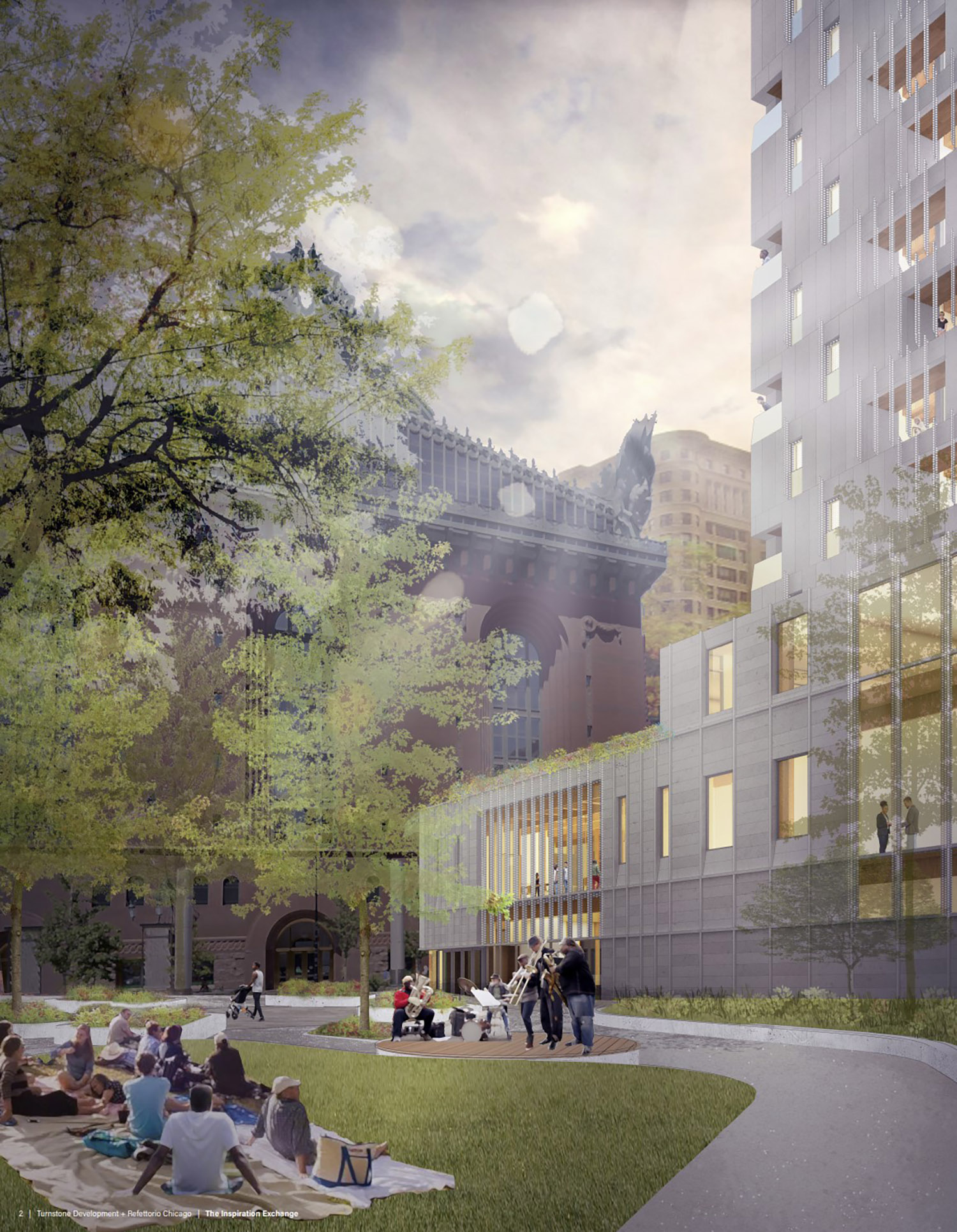 View of Inspiration Exchange. Rendering by MKB Architects