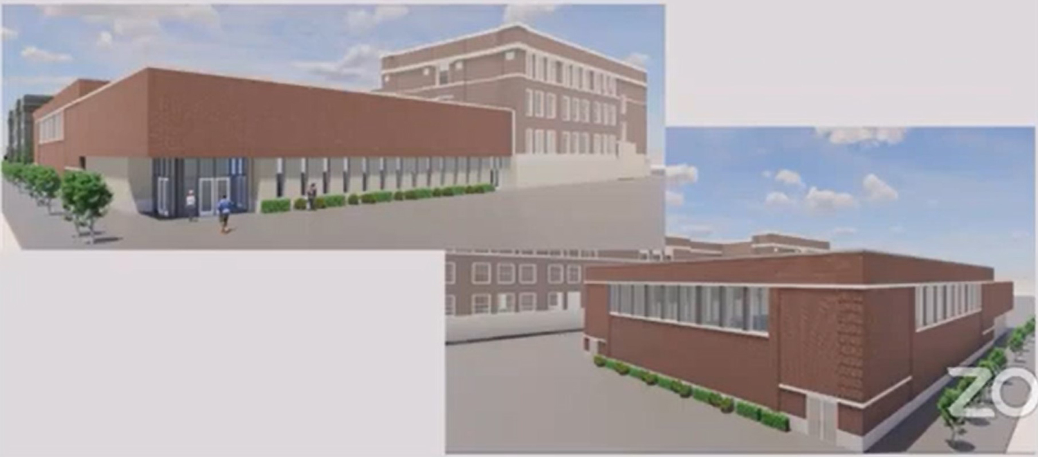 Views of Wendell Phillips High School Addition. Rendering by Moody Nolan