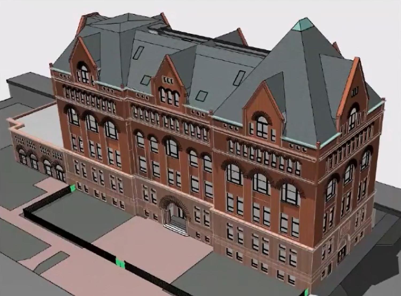 3D Model of 3300 S Federal Street. Rendering by Pappageorge Haymes