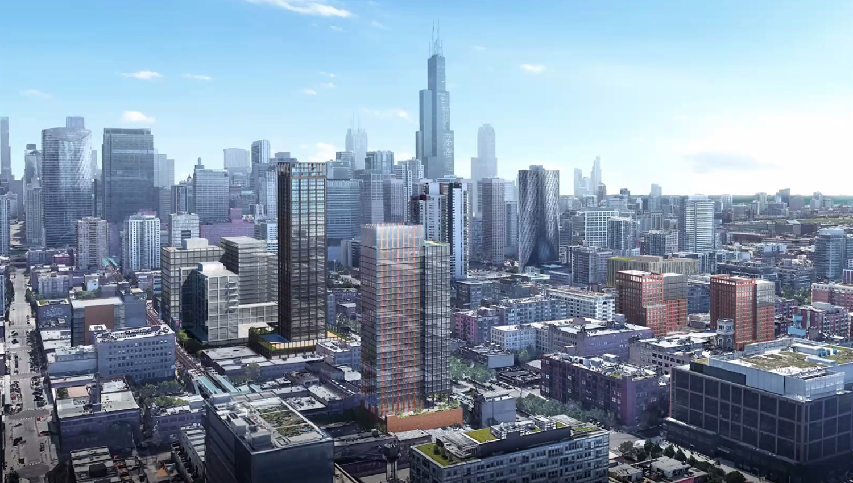 Aerial View of 160 N Morgan Street. Rendering by bKL Architecture