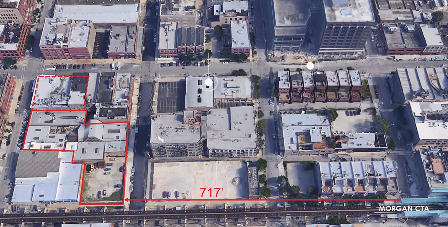 Aerial View of Existing Site at 210 N Aberdeen Street. Image by NORR