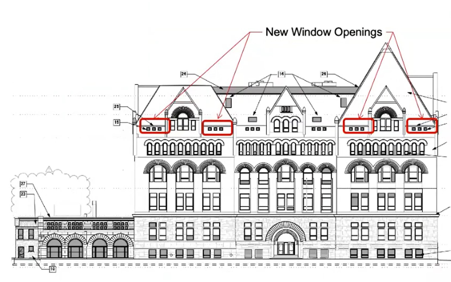 East Elevation for 3300 S Federal Street. Drawing by Pappageorge Haymes