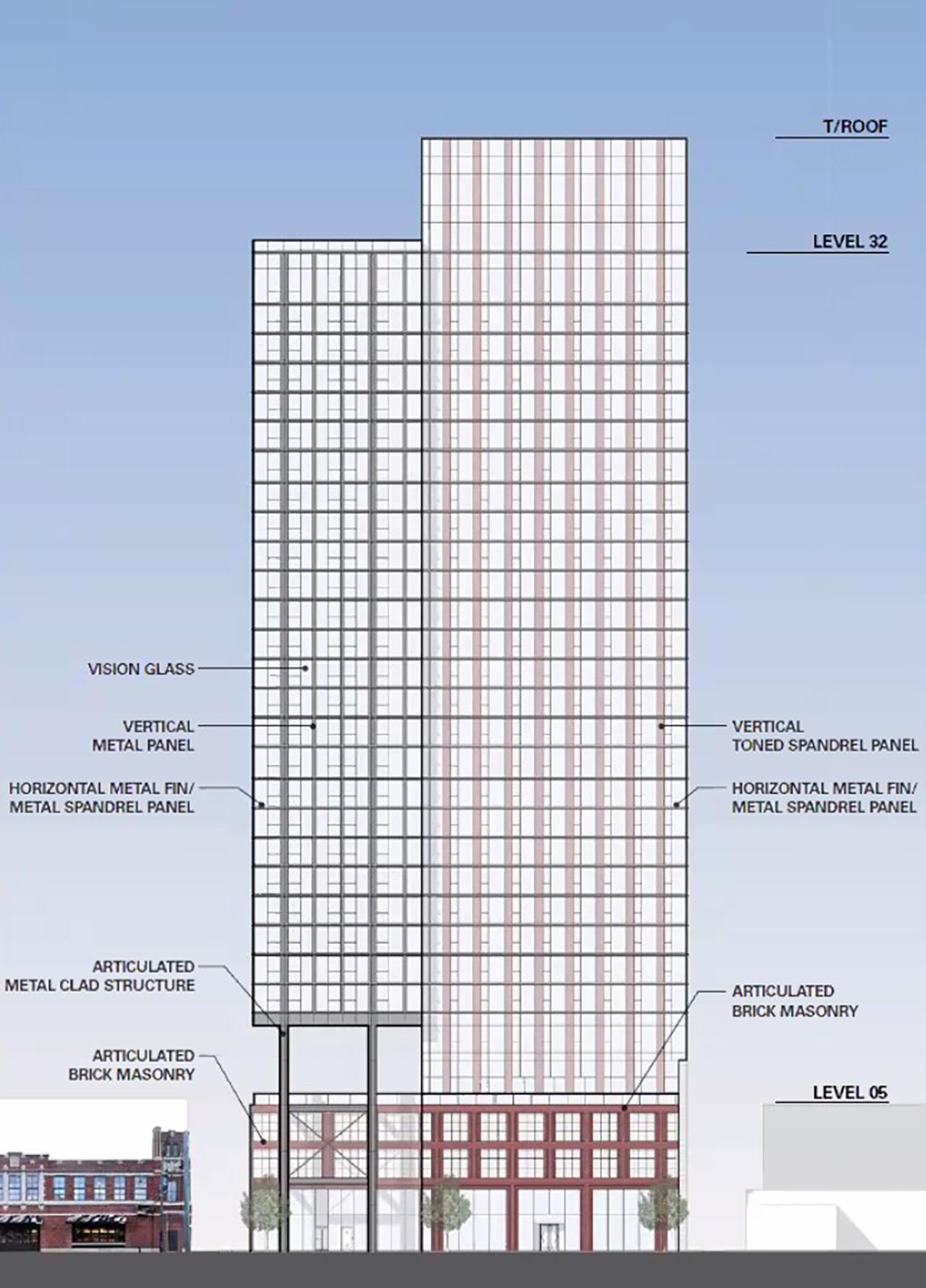 East Elevation of 160 N Morgan Street. Rendering by bKL Architecture