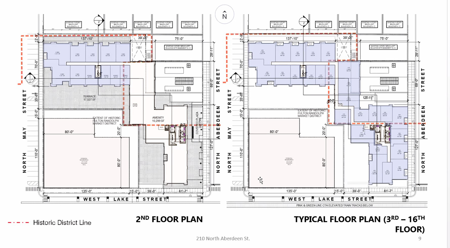 Floor Plans for 210 N Aberdeen Street. Drawing by NORR