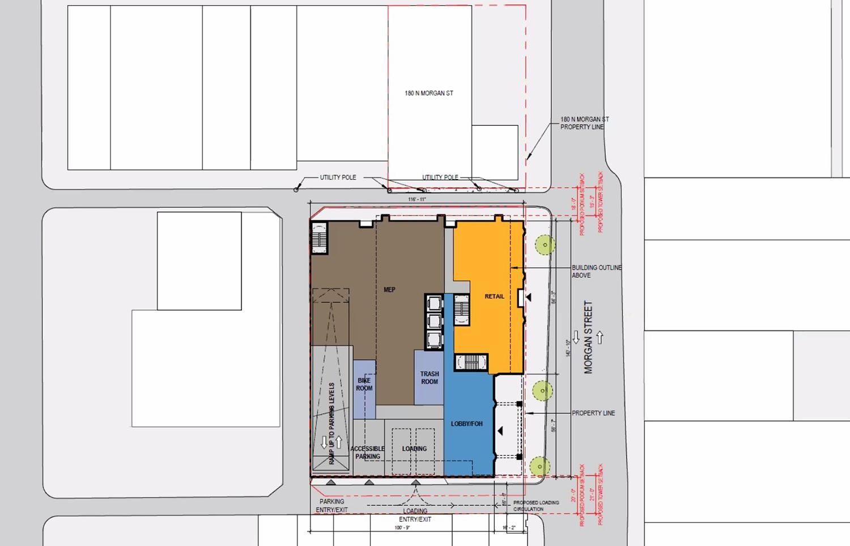 Ground Floor Plan of 160 N Morgan Street. Rendering by bKL Architecture