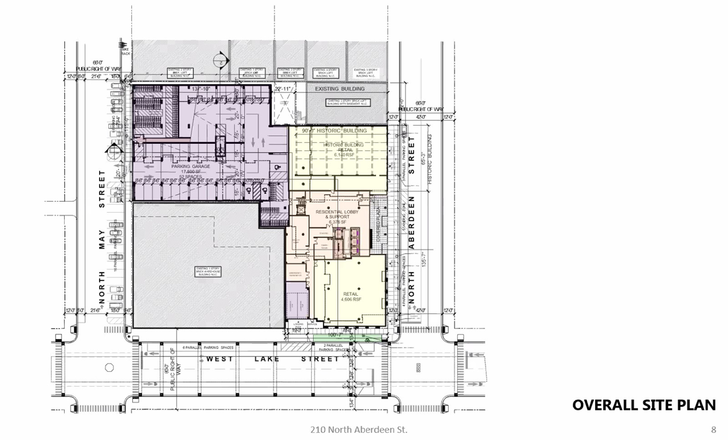 Site Plan for 210 N Aberdeen Street. Drawing by NORR