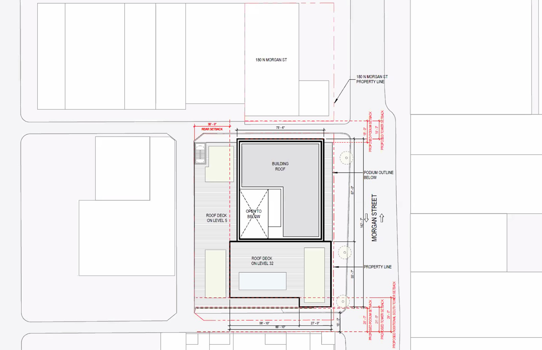 Site Plan of 160 N Morgan Street. Rendering by bKL Architecture