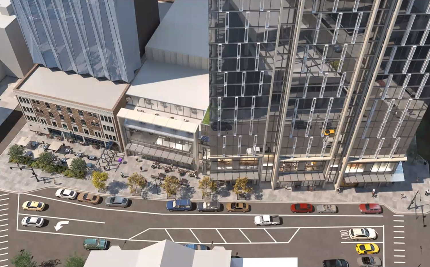Aerial View of Streetscape at 1130 N State Street. Rendering by SCB