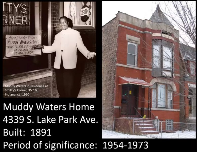 Muddy Waters House at 4339 S Lake Park Avenue. Images by CCL