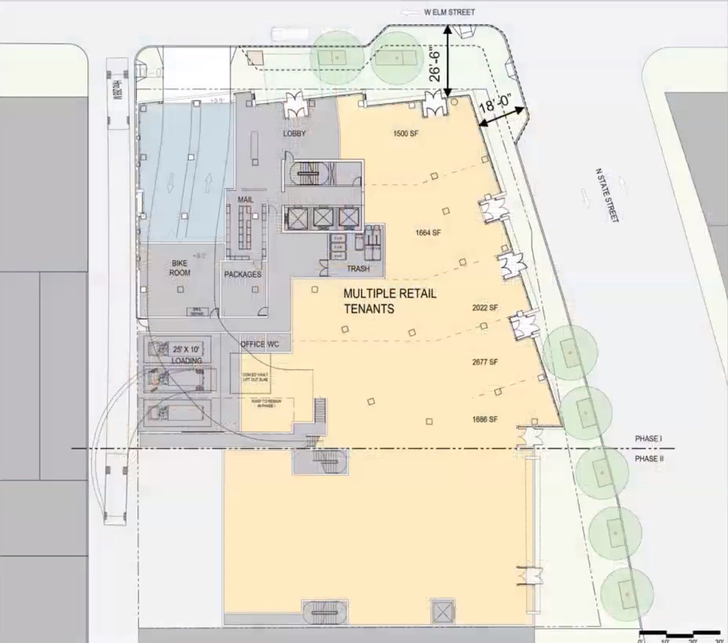 Site Plan for 1130 N State Street. Drawing by SCB