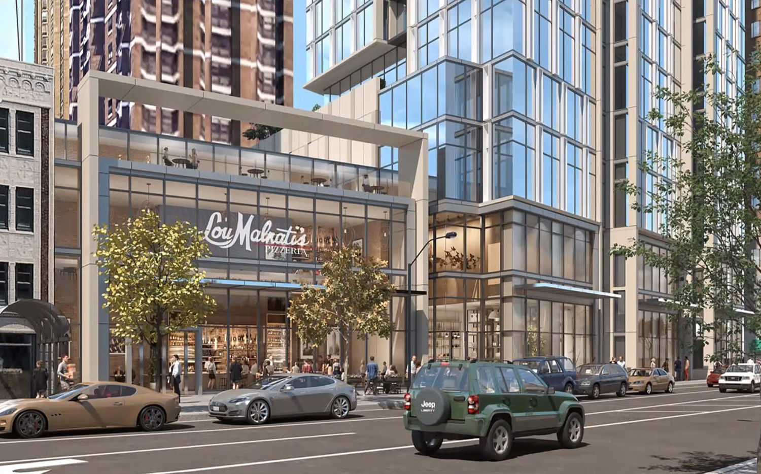 View of Lou Malnati's Phase at 1130 N State Street. Rendering by SCB