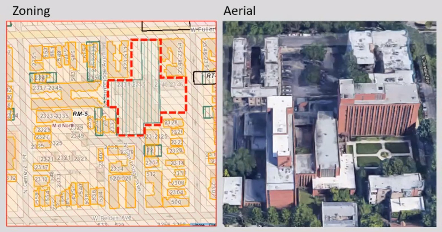 Zoning and Aerial Overview of 513 W Fullerton Avenue. Images by CCL