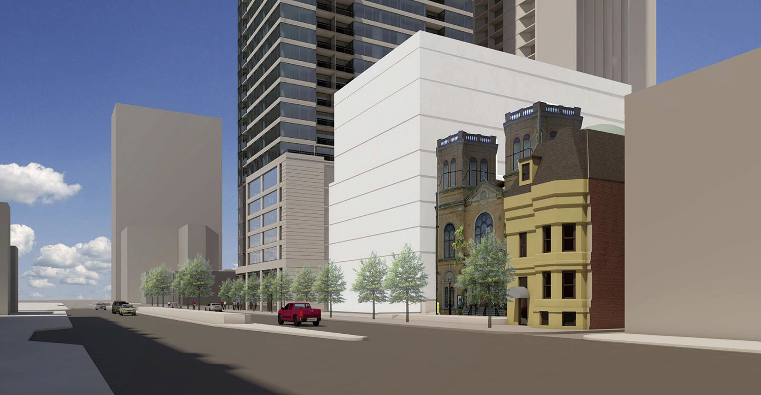 Street View of 125 W Maple Street and Future Community Center. Rendering by Pappageorge Haymes