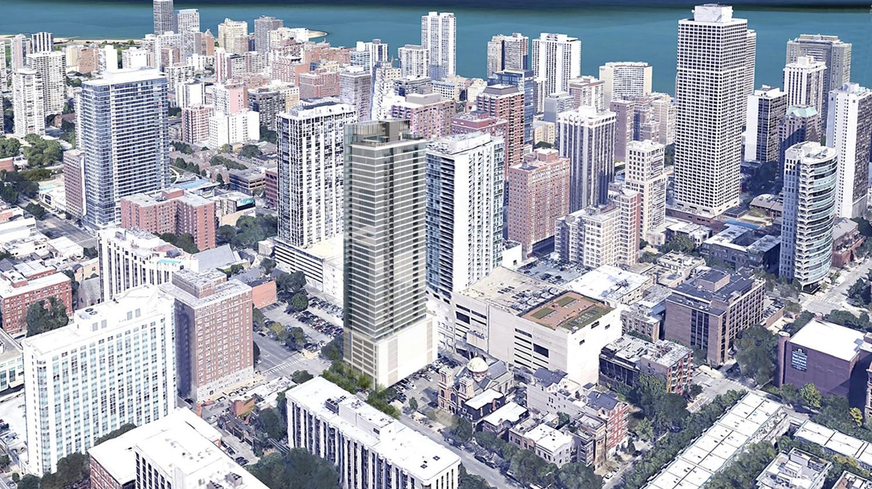 Aerial View of 125 W Maple Street. Rendering by Pappageorge Haymes