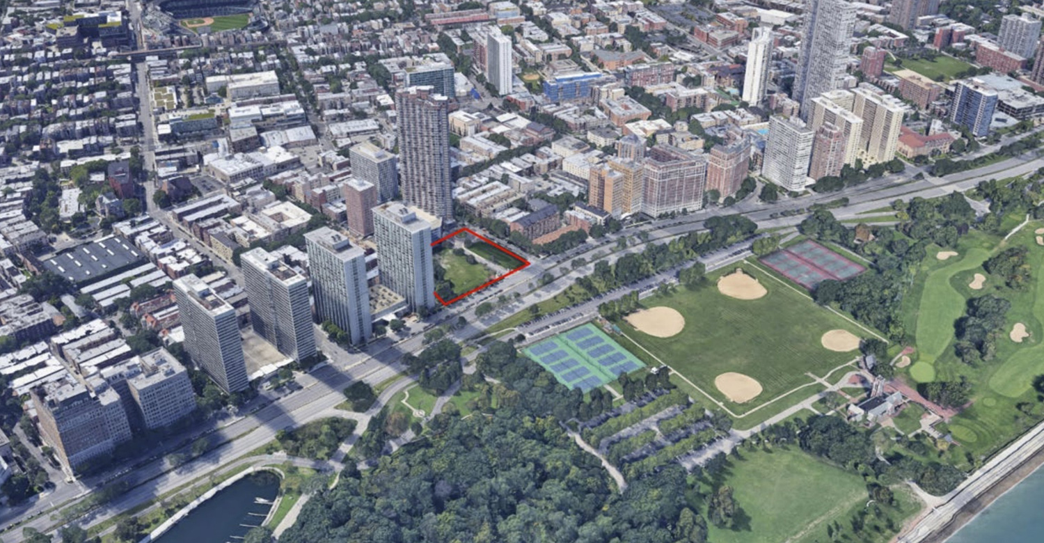 Aerial View of Site Outline in Red at 3636 N Lake Shore Drive. Image by BKV Group