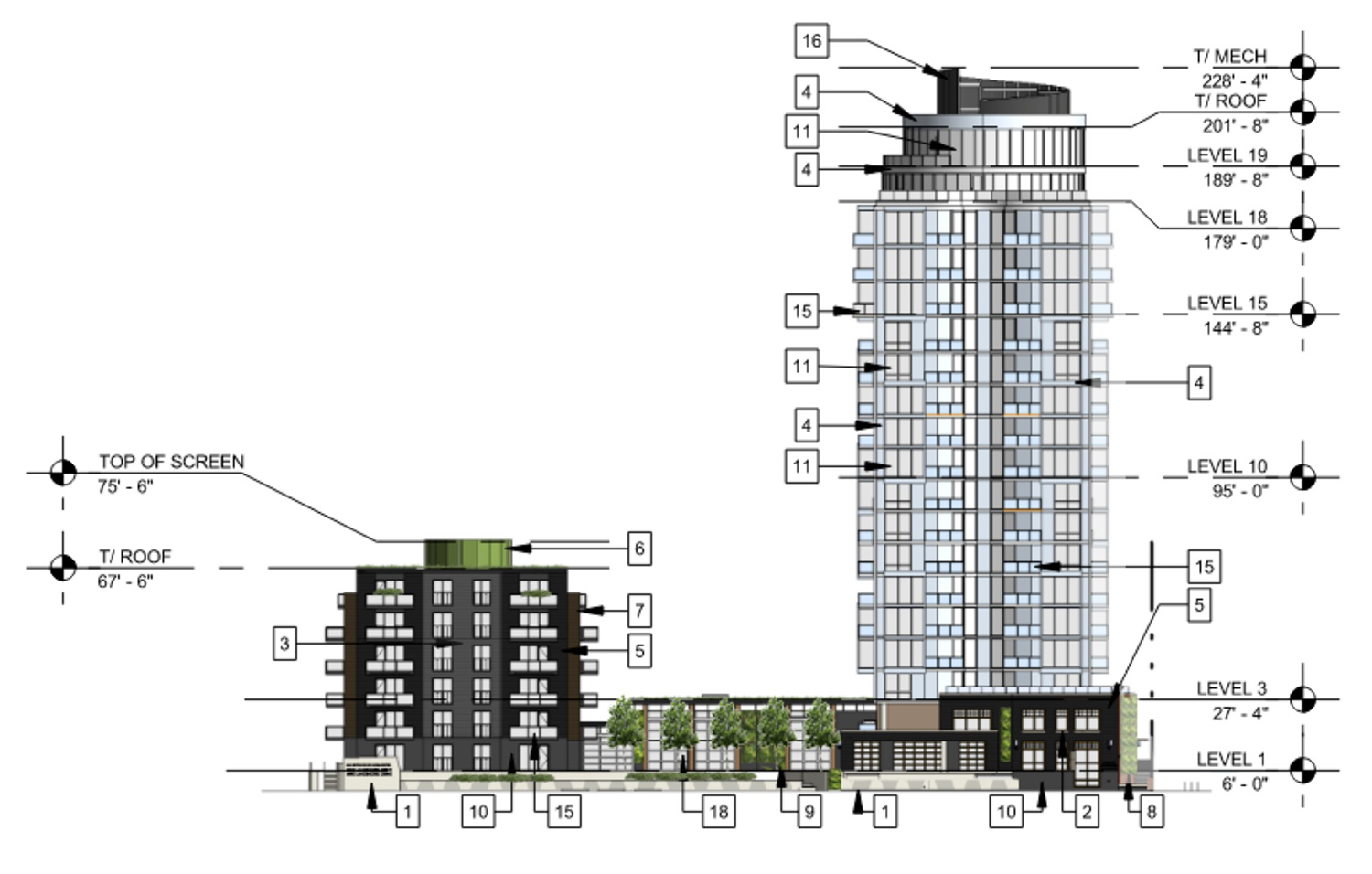 East Elevation for 3636 N Lake Shore Drive. Drawing by BKV Group