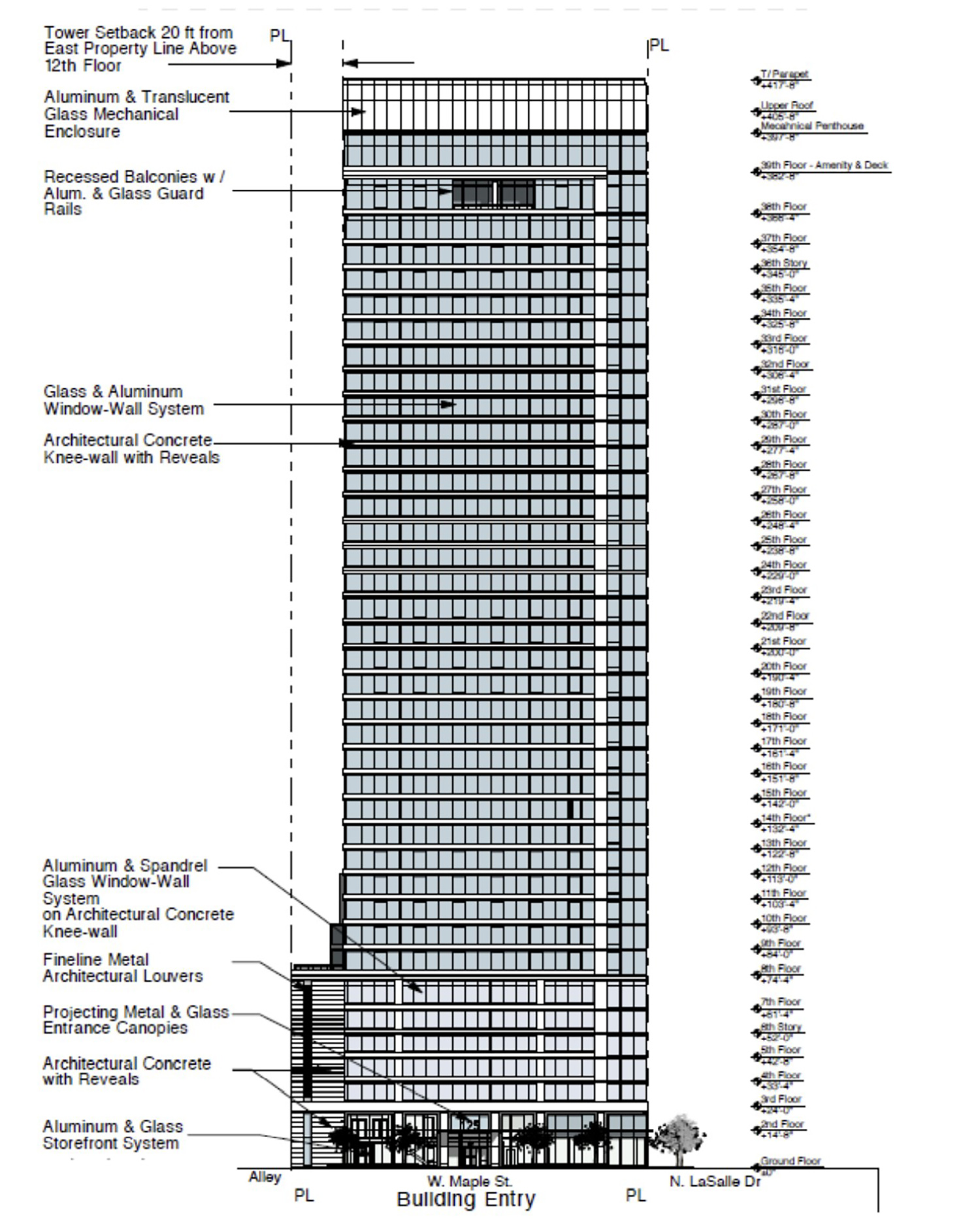 North Elevation for 125 W Maple Street. Drawing by Pappageorge Haymes